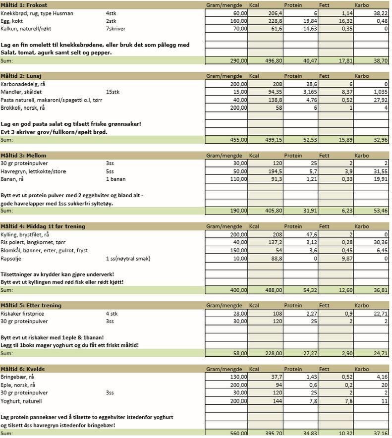kostholdsplan for vektnedgang